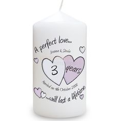 Personalised Anniversary Candle - A Perfect Love  from Personalised Gifts Shop - ONLY £9.95