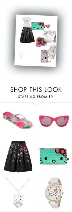 """""""elhaida"""" by elhaida-1 ❤ liked on Polyvore featuring Havaianas, Elizabeth and James, Ted Baker, Hello Kitty and Chanel"""