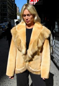 """6 Months Old Camel Dyed Sheared Mink Jacket W/ Sable Trim  Check out this stunning 6 month old camel dyed sheared mink jacket w/ oversized shawl collar. The collar, tuxedo and broder are trimmed in bleached sable. The undercollar is hideout. The canadian sable & the usa mink skins are incredibly silky. The lining is in perfect condition & this garment has a monogram. Length: 27"""", sleeves: 29"""", armholes: 19"""", shoulders: 19"""", sweep: 44"""", size: 8  http://www.cowitfurs.com/fur-gallery"""