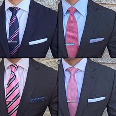 You will find anything from solid pink ties, to intricate patterned and striped ties in colors ranging from bright hot pink to the more subtle salmon and peach. Mens Shirt And Tie, Suit And Tie, Business Casual Men, Men Casual, Couple Outfits, Casual Outfits, Striped Ties, Men Warehouse, Formal Tie