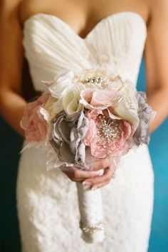 DIY rose pink and white fabric wedding bouquet