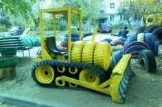 25 Fun Outdoor Playground Ideas For Kids Tire Playground, Outdoor Playground, Playground Ideas, Kids Outdoor Play, Outdoor Fun, Tire Craft, Recycled Art, Recycled Tires, Recycled Furniture