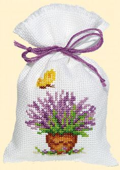 cute cross stitch idea for making scented lavender pouches free cross stitch chart Cross Stitch Boards, Just Cross Stitch, Cross Stitch Finishing, Cross Stitch Flowers, Free Cross Stitch Charts, Counted Cross Stitch Patterns, Cross Stitch Designs, Cross Stitch Embroidery, Lavender Bags