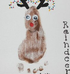 Simple DIY Christmas Craft Ideas for Kids - Footprint Reindeer - Click PIN for 25 Holiday Decoration Ideas