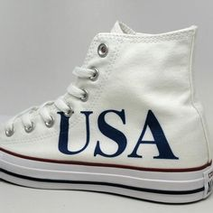 USA Custom Converse Chuck Taylors with American Flag on the tongue.   converse  usa b8ac5efb10b9
