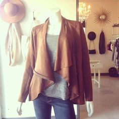 Back in stock! This Vegan Suede lovely sold out in 3 days the first time so get it while you can! Now available in black, too!  #vegansuede #falljacket #falllayers #goldieson4th #shopatgoldies