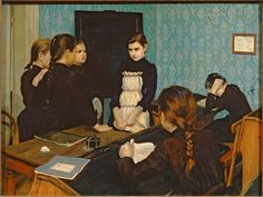 'New Girl at School' (1892), by Emily Shanks, oil on canvas - The State Tretyakov Gallery.
