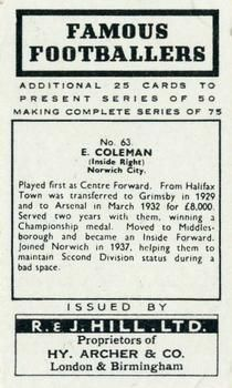 1939 R & J Hill Famous Footballers Series 2 #63 Ernest Coleman Back