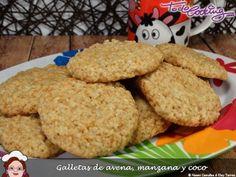 Galletas de avena, manzana y coco, para el #asaltablogs Coco, Muffin, Food And Drink, Menu, Treats, Cookies, Healthy, Recipes, Color Turquesa