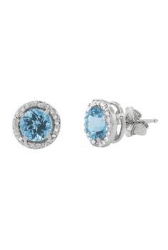 designer: EFFY JEWELRY SEE DETAILS HERE:Effy Jewelry 14K White Gold Blue Topaz  Diamond Earrings, 2.20 TCW