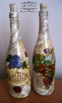 Resultado de imagen para how to fabric decoupage wine bottle Wine Bottle Glasses, Empty Wine Bottles, Recycled Wine Bottles, Wine Bottle Corks, Painted Wine Bottles, Diy Bottle, Painted Wine Glasses, Decorated Bottles, Glass Bottles