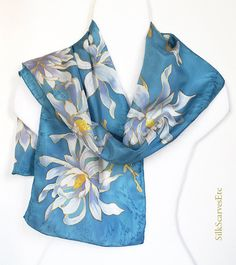 Hand painted silk scarf Magnolias gray blue by SilkScarvesEtc