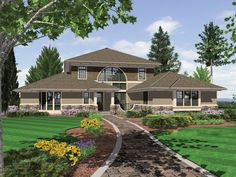 <ul><li>Influenced by the Modernist movement, this California contemporary home plan design is grand in facade and comfortable to live in. Stone, siding, and shingles dress the exterior in tandem with huge window areas and a clever walled patio just at the entry.  </li><li>A two-story foyer opens to the formal dining room (also two-story) and the great room. Decorative columns help define these spaces. A curved wall of glass overlooking a rear patio brightens the great room