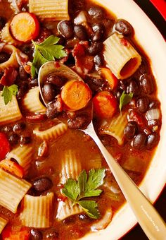 Brazilian Minestrone Soup -- or Black bean, pasta, bacon, and vegetable soup. A quick, complete meal!