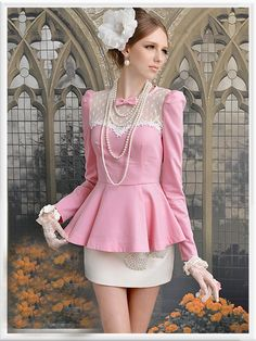 Morpheus Boutique  - Pink Lace Long Sleeve Bow Layer Pleated Ruffle Shirt
