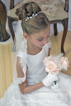 Girls First Holy Communion Lace White Mantilla