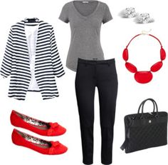 Ready to Work, stripped blazer, gray t-shirt, black cigarette pants, red accessories. Red Flats Outfit, Gray Shirt Outfit, Striped Blazer Outfit, Outfits With Striped Shirts, Blazer Outfits, Grey Shirt, Work Outfits, Spring Outfits, Dress Clothes