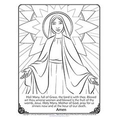Mary Coloring Page. With the Hail Mary prayer printed