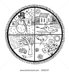 The Four Seasons Coloring Pages - Nature Coloring Pages Nature, Coloring Pages To Print, Coloring For Kids, Coloring Pages For Kids, Activities For Boys, Classroom Activities, Preschool Weather, Learning English For Kids, Preschool Printables