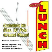 Lunch (Red/Yellow) Feather Banner Flag Kit (Flag, Pole, & Ground Mt) by Vista Flags. Save 25 Off!. $67.40. Flag made of knit polyester for longer life and brighter colors.. Tall Feather Banner Kit (16 foot Pole , Flag and Ground Mount). A great way to advertise.. Ships within 2 business days!. 100% dyed-through image, single-sided (back side reverse).. Make sure your potential customers can find you and know what you sell. These 11.5 foot banners are designed to draw attention to y...