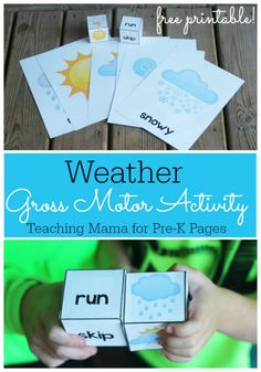 Weather Theme Movement Game – Fun activity for in a gym or outside. – Gets children moving. – Helps them get to know the seasons and movements that you role. Weather Activities Preschool, Movement Activities, Preschool Themes, Preschool Science, Preschool Lessons, Motor Activities, Science Classroom, Preschool Centers, Toddler Classroom