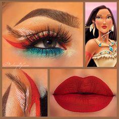 Pocahontas make up - Makeup Looks Korean Pocahontas Makeup, Disney Eye Makeup, Disney Inspired Makeup, Disney Princess Makeup, Eye Makeup Art, Cute Makeup, Makeup Inspo, Makeup Inspiration, Makeup Looks