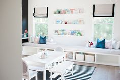 kid playroom decor, kid play area in bonus room, kid room design with activity table and toy storage Playroom Storage, Playroom Design, Playroom Decor, Kids Room Design, Interior Design Living Room, Playroom Ideas, Toy Storage, Playroom Bench, Sunroom Playroom