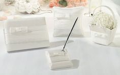 Hand Crafted Pleated White Wedding Set includes: flower basket, guest book, pen set and ring pillow Combine shipping avail. Wedding Ceremony Supplies, Wedding Favors, Wedding Reception, Wedding Matches, Wedding Sets, Elegant Wedding, Lillian Rose, Ring Pillows, Wedding Guest Book Alternatives