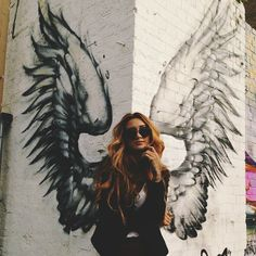 Thinking this would be fun to do in a popular area of town - lots of photo ops. Church Interior Design, Church Design, Angel Wings Wall Decor, Wing Wall, Graffiti Wall Art, Sidewalk Art, Fantasy Landscape, Favim, Urban Art