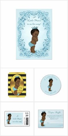 Cute Ethnic Prince Baby Shower invitations and personalized party favors and gifts.