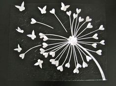 *Black and White Dandelion Art made with cardstock cut-outs of hearts and butterflies    *Canvas (16x20) painted with acrylic paint, textured flower background    *Cut-outs adhered with heavy duty craft glue    *Sprayed with clear gloss varnish to prevent UV damage    Great for:  -baby nurseries  -kids rooms  -teen girls rooms  -nature lovers  -engagement gifts  -wedding gifts  -housewarming gifts  -statement piece