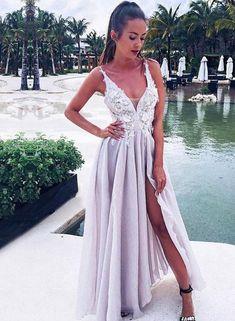 Long V Neck Prom Dresses With Slit Floor Length Appliques Evening Dresses 1e66cb2bb