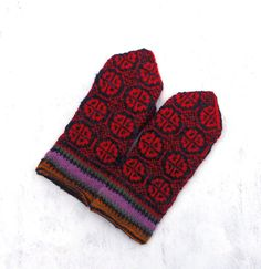 knitted wool mittens, hand knit latvian mittens, knit colorful gray red winter gloves, nordic arm warmers, multicolor accessories, women men by peonijahandmadeshop on Etsy