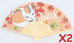 Chinese Japanese Silk Lace Floral Butterfly Wooden Cat Nyanko-sensei maneki-neko Paper Folding Hand Pocket Fans & Stand (D13399 Design may vary) | Decorative Folding Fans | Olivia Decor - decor for your home and office.