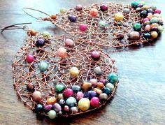 The Tangled Web We Weave - Wonder Woman - GODDESS - Earrings - Pearls - Copper, Statement - Rainbow - Huge - Woven - Artisan - catROCKS on Etsy, $165.00