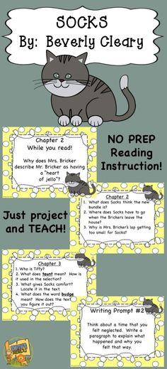 Socks - By:  Beverly Cleary Teach this chapter book without any copies!  Projectable questions focusing on comprehension, vocabulary, grammar, and writing!