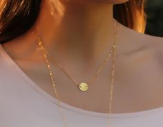 """Coin disc necklace, gold necklace, disc necklace, 14k gold filled, everyday necklace, minimalist, tiny charm, simple necklace, """"Galaxy"""""""