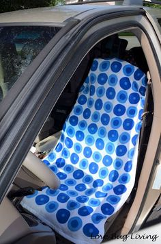 Make a DIY Car Seat Cover out of a towel for after workouts - towel won't slip!
