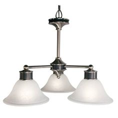 Z-Lite Dynasty Collection Satin Nickel/Black Finish Three Light Chandelier