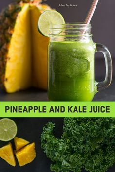 Start your day with this easy green juice recipe! Pineapple and kale juice is th. Start your day with this easy green juice recipe! Pineapple and kale juice is the perfect healthy e Kale Juice Recipes, Juice Cleanse Recipes, Detox Diet Drinks, Detox Juice Cleanse, Green Detox Smoothie, Veggie Juice, Natural Detox Drinks, Healthy Green Smoothies, Apple Smoothies
