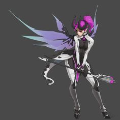 alternate costume artist name bodysuit breasts dark persona demon horns demon tail devil mercy facial mark faulds forehead mark full body grey background high ponytail holding holding staff horns imp mercy leaning forward lipstick long hair looking t Paladins Overwatch, Overwatch Comic, Overwatch Fan Art, Overwatch Mercy, Game Character, Character Concept, Concept Art, Imp Mercy, Amarillis