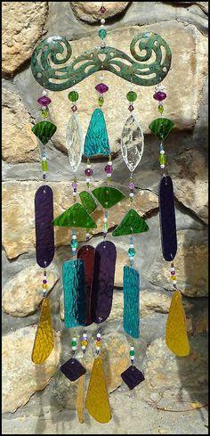 Vitraux Windchime avec perles de verre par StainedGlassDelight