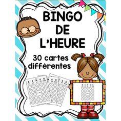 Bingo de l'heure ! Math 5, Math Games, Teaching Math, French Classroom, Math Classroom, Math Blocks, Math Measurement, Math School, Primary Maths