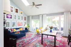 My Houzz: A Burst of Happy Colors in a Lakeside Missouri Home - Eclectic - Living Room - Kansas City - by Jessica Cain Eclectic Living Room, Living Room Interior, Living Room Decor, Living Spaces, Bedroom Decor, Living Rooms, Blue Grey Walls, Boutique Interior Design, Painted Doors