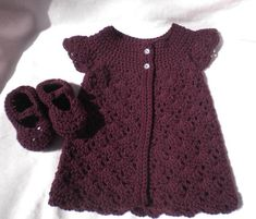 Items similar to Crocheted Infant Girl Sweater MaryJanes Plum Baby Cashmerino Yarn 12 18 mo. on Etsy Toddler Sweater, Baby Girl Sweaters, Newborn Crochet, Crochet Baby, Knit Crochet, Handmade Baby, Handmade Clothes, Handmade Gifts, Unique Mothers Day Gifts