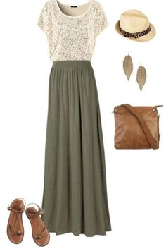StitchFix spring/summer outfit inspiration. Olive maxi, lace cream short sleeved top, and cross body purse. Perfect boho look. Sign up for stitch fix today and receive hand picked pieces from your personal stylist according to your style and budget! #stitchfix #boho #maxiskirt #springfashion #summerfashion
