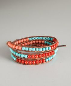coral & turquoise bead and brown leather wrap bracelet