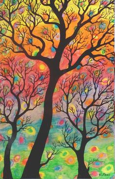 Forest Through The Trees. Tree Art Painting on wood panel. by Woodruff artist, Cathy Lees Tree Of Life Art, Tree Art, Simple Acrylic Paintings, Painting On Wood, Bright Colors Art, New Things To Learn, Wood Paneling, Artist, Trees
