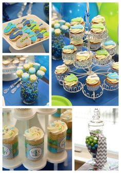 """Little Man"" baby shower theme. So cute! Love the shirt and tie deco, the cake push pops, the colors and handmade soap favors"