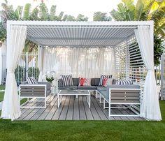 Modern Medium Outdoor Cabana in White Modern Outdoor Cabana in white with 4 curtains. (Requires Assembly) Dimensions: x H Backyard Gazebo, Backyard Patio Designs, Pergola Designs, Pergola Patio, Pergola Kits, Pergola Ideas, Backyard Cabana, Pool Cabana, Cheap Pergola